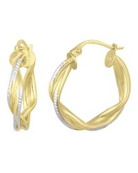 Lord & Taylor - Metallic 18kt. Gold & Sterling Silver Woven Hoop Earrings - Lyst