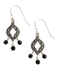 Lord & Taylor | Black Sterling Silver And Marcasite Drop Earrings | Lyst