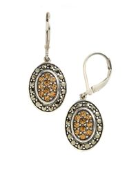 Lord & Taylor | Metallic Sterling Silver And Marcasite Drop Earrings | Lyst