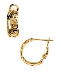 Lord & Taylor | Metallic Gold Over Sterling Silver Hoop Earrings With Cubic Zirconia Embellishments | Lyst
