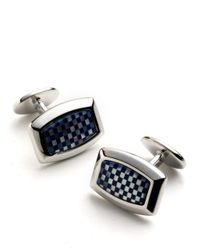 David Donahue - Blue Sterling Silver Checkerboard Cuff Links for Men - Lyst