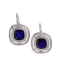 Lord & Taylor | Blue Bezel-cut Cubic Zirconia Earrings | Lyst