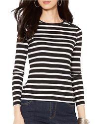 Lauren by Ralph Lauren | Black Buttoned Shoulder Striped Top | Lyst