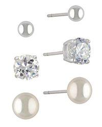 Lord & Taylor - Metallic Mini Stud Earring Set 3 Pairs - Lyst