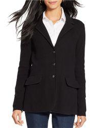 Lauren by Ralph Lauren | Black Cotton Sweater Blazer | Lyst