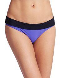 Nike - Blue Foldover Colorblocked Bikini Bottom - Lyst