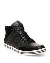 Steve Madden | Black Ristt Leather Hi-top Sneakers for Men | Lyst