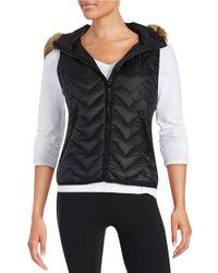 Calvin Klein | Black Faux Fur-trimmed Quilted Vest | Lyst