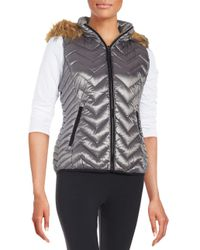 Calvin Klein - Gray Faux Fur-trimmed Quilted Vest - Lyst