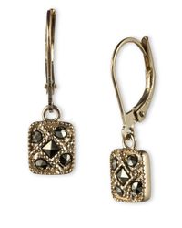 Judith Jack - Metallic Sterling Silver And Marcasite Square Drop Earrings - Lyst