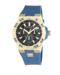 Vince Camuto | Blue Goldtone Stainless Steel Silicone Strap Watch, Vc1010bkgp for Men | Lyst