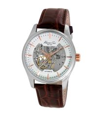 Kenneth Cole | Automatic Skeleton Brown Leather Strap Watch, 10027198 for Men | Lyst