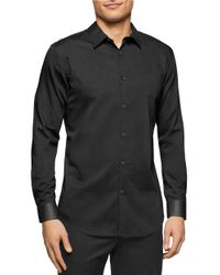 Calvin Klein | Black Solid Sportshirt for Men | Lyst