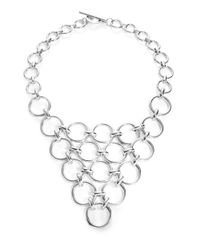 Trina Turk | Metallic Silver Lining Round Linked Bib Necklace | Lyst