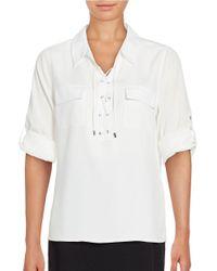 Calvin Klein | White Lace-front Blouse | Lyst