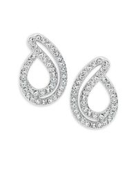 Nadri | Metallic Silvertone Crystal Pave Small Teardrop Earrings | Lyst