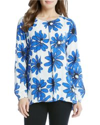 Karen Kane | Blue Daisy Print Handkerchief Top | Lyst