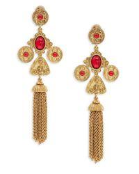 Oscar de la Renta | Orange Cabochon Tassel Drop Clip-on Earrings | Lyst
