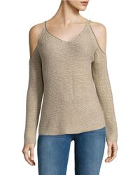 Lord & Taylor | Natural Cold Shoulder Knit Sweater | Lyst