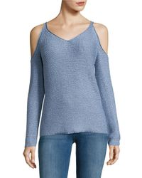 Lord & Taylor | Blue Cold Shoulder Knit Sweater | Lyst