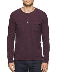 Calvin Klein Jeans | Purple Garment Dye Mixed Media Cotton Henley Tee for Men | Lyst