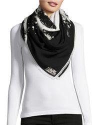 Karl Lagerfeld | Black Splatter-print Profile Scarf | Lyst
