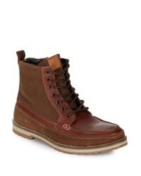 Kenneth Cole Reaction | Brown Soak It In Leather And Suede Lace-up Mid-boots for Men | Lyst