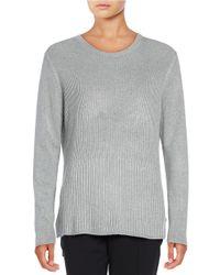Ivanka Trump   Gray Ribbed Hi-lo Sweater   Lyst