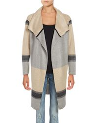 Calvin Klein | Brown Striped Open Cardigan | Lyst