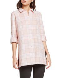 BCBGeneration   Pink Plaid Tunic Shirt   Lyst