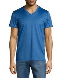 Calvin Klein   Blue Premium Double Mercerized V-neck Tee for Men   Lyst