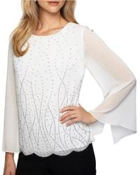 Alex Evenings | White Plus Long Illusion Sleeve Blouse | Lyst