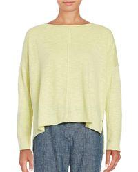 Eileen Fisher | Yellow Slub Bateau-neck Linen & Cotton Poncho Top | Lyst