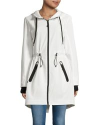 MICHAEL Michael Kors | White Stretch Drawstring Hooded Jacket | Lyst
