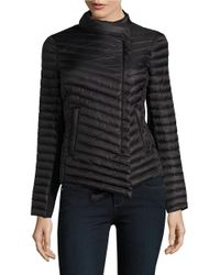 MICHAEL Michael Kors | Black Asymmetrical Quilted Packable Coat | Lyst