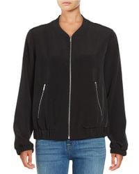 Calvin Klein | Black Exposed Zipper Bomber Jacket | Lyst