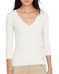 Lauren by Ralph Lauren | White Rib-knit V-neck Cotton-blend Sweater | Lyst