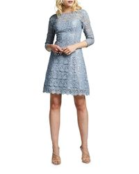 Kay Unger | Gray Floral Lace Cocktail Dress | Lyst