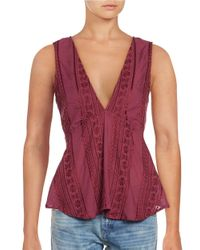 Free People | Pink Open-back Embroidered Sleeveless Top | Lyst