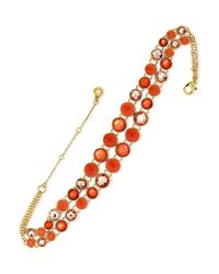 Anne Klein | Orange Cubic Zirconia, Goldtone And Epoxy Stone Choker Necklace | Lyst