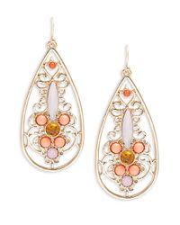 R.j. Graziano | Orange Stone Accented Open Teardrop Earrings | Lyst
