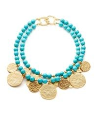 Kenneth Jay Lane   Metallic Two-row Turquoise And Disc Necklace   Lyst