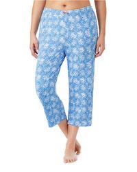 Ellen Tracy | Blue Plus Cropped Jersey Pajama Pants | Lyst