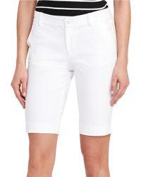 Lauren by Ralph Lauren | White Petite Solid Twill Shorts | Lyst