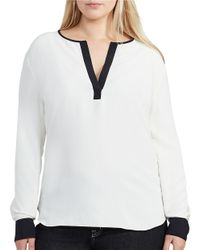Lauren by Ralph Lauren | White Plus Two-toned Crepe Tunic | Lyst