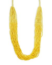 Lord & Taylor | Yellow Multi-row Beaded Necklace | Lyst