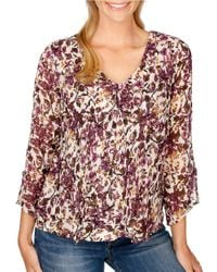 Lucky Brand | Multicolor Floral-printed V-neck Top | Lyst