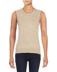 Calvin Klein | Brown Crewneck Sleeveless Knit Shell | Lyst