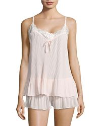 Oscar de la Renta | Pink Two-piece Pleated Georgette Tank And Shorts Pajama Set | Lyst