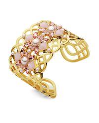 Ivanka Trump | Metallic 4mm - 8mm Faux Pearls Goldtone Openwork Cuff Bracelet | Lyst